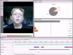 La schermata del programma FaceReader della Noldus [tratta da eyeonmedia.com.mx]
